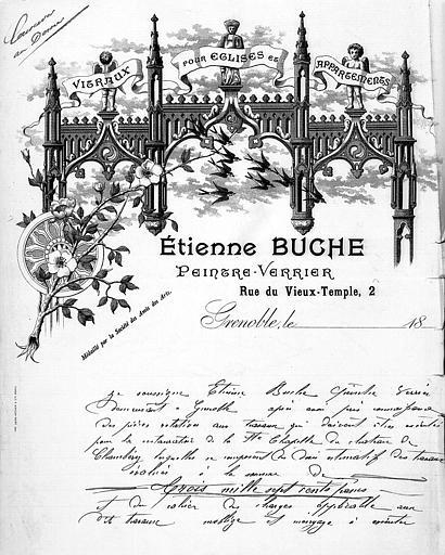 Gravure : Papier à lettre d'Etienne Buche, maître-verrier, 2 rue du Temple