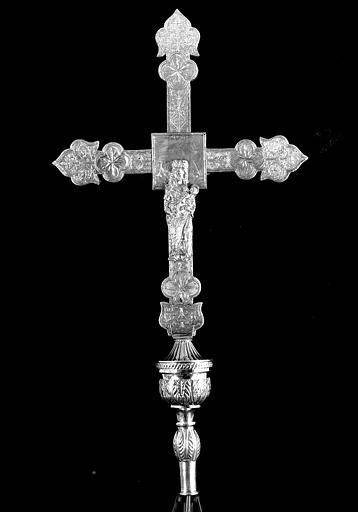 Croix processionnelle en argent sur âme de bois (revers)