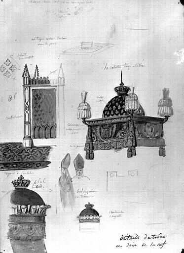 Dessin au crayon et aquarelle : Détails du trône et du dais de la nef (Sacre de Charles X)