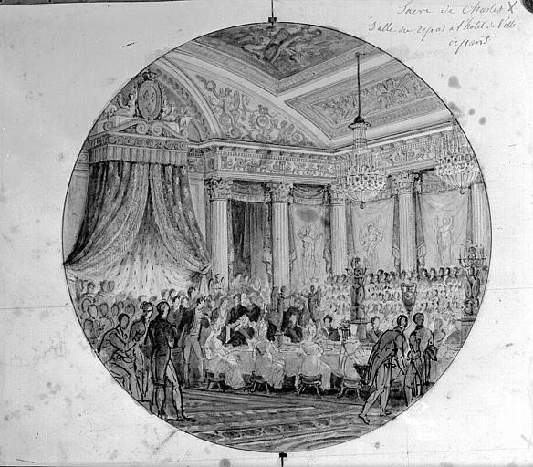 Dessin à la plume et aquarelle : Salle du repas à l'Hôtel de Ville (Sacre de Charles X)