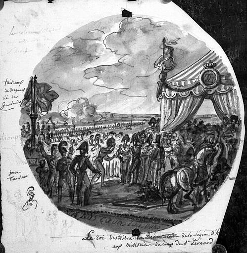 Dessin à la plume et lavis de sépia : Le Roi distribue la décoration de la Légion d'Honneur aux militaires du camp de Saint-Léonard