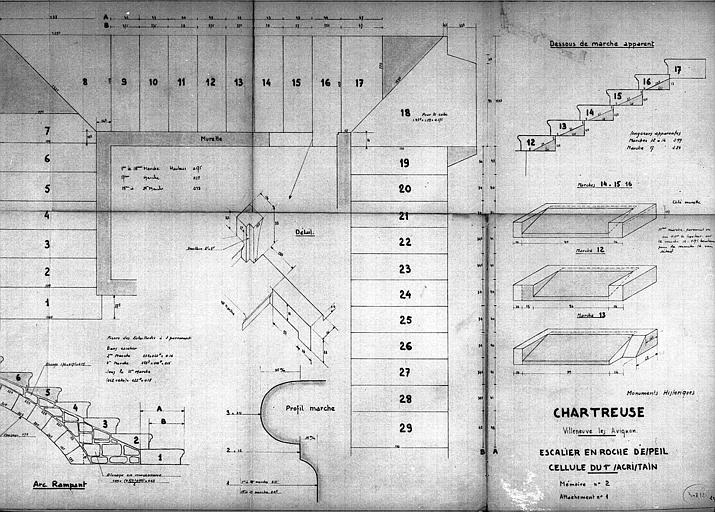 Escalier en roche d'Espeil, cellule du 1e sacristain : Plan, élévation, coupe et détails