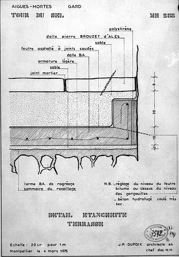 Coupe détaillée de l'étanchéité de la terrasse
