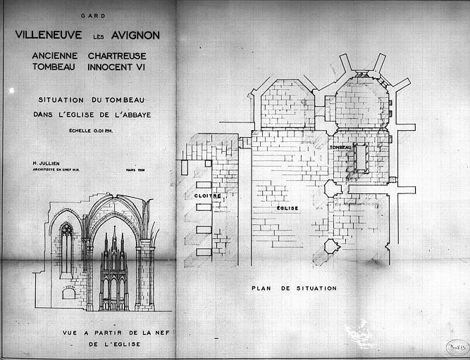 Tombeau d'Innocent VI : Plan de situation du dans l'église et vue à partir de la nef