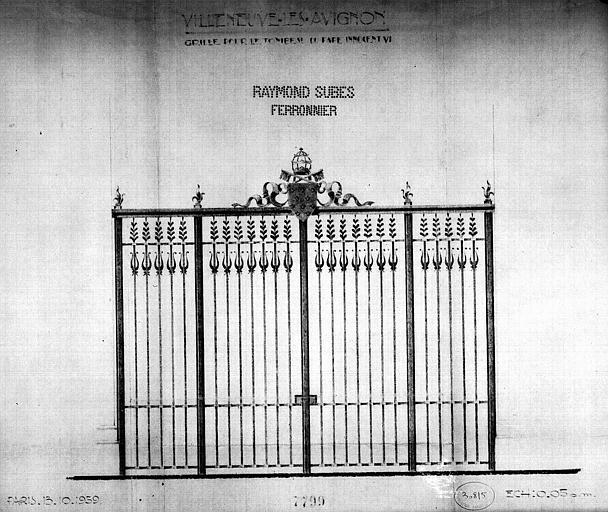 Elévation de la grille pour le tombeau d'Innocent VI