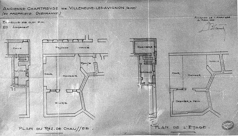 Plan du rez-de-chaussée et de l'étage de l'ancienne chartreuse (ex-propriété Queyranne)