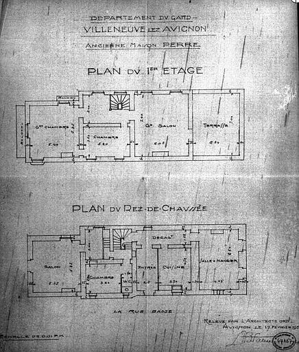 Plan du rez-de-chaussée et du 1e étage