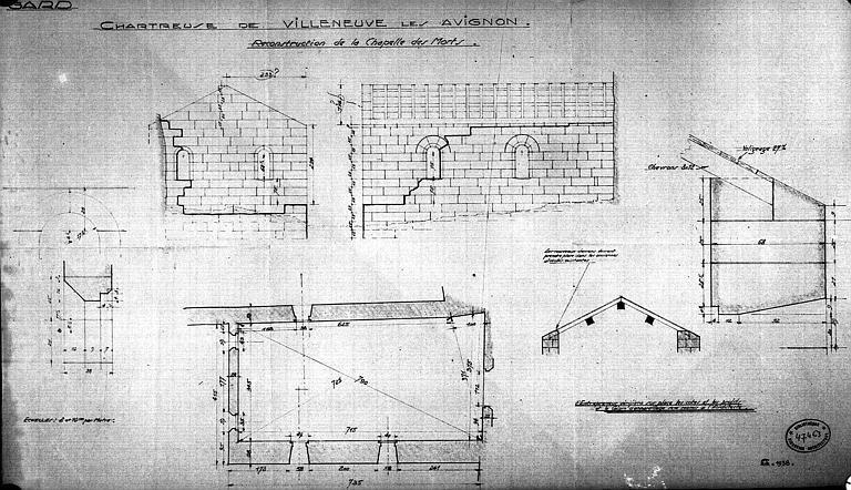 Reconstruction de la chapelle des Morts : Plan, coupe, élévation