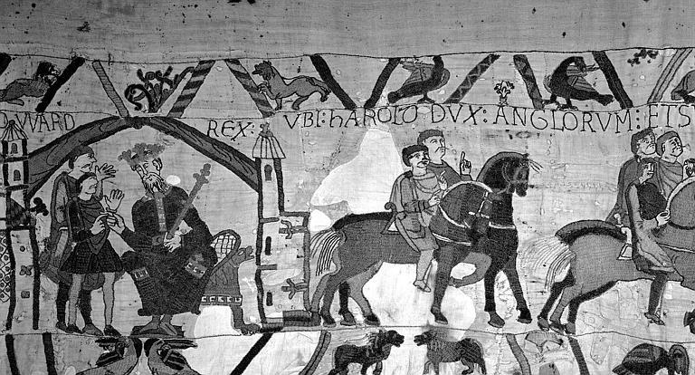 Tapisserie de Bayeux (avers),  2B : Edouard assis sur le trône, Harold part à cheval pour la Normandie