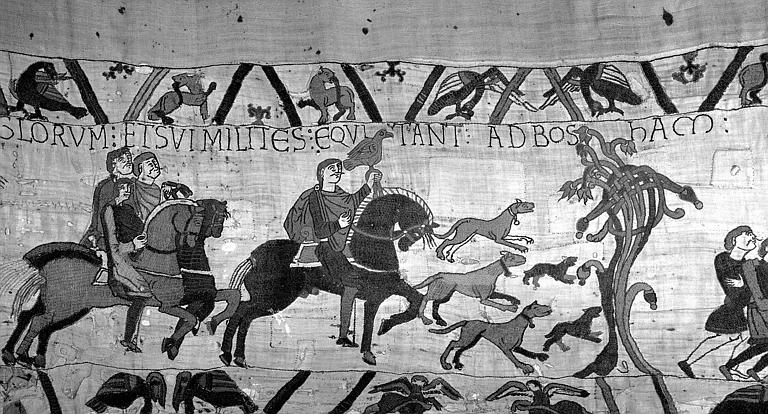 Tapisserie de Bayeux (avers),  3B : Harold et son escorte partant pour la Normandie