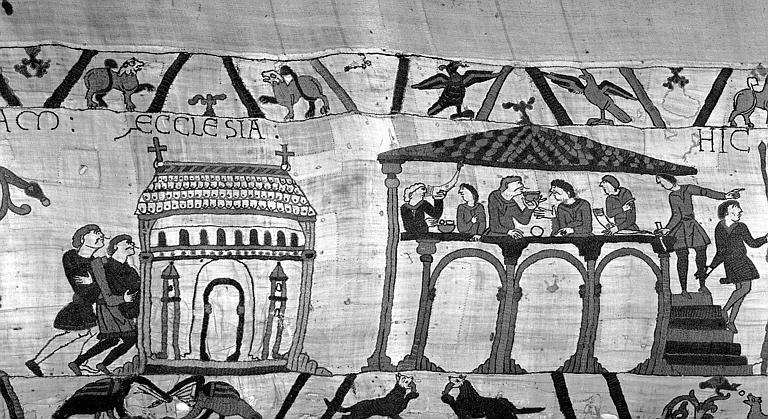 Tapisserie de Bayeux (avers),  4B : Harold entre dans l'église, et repas sous architecture