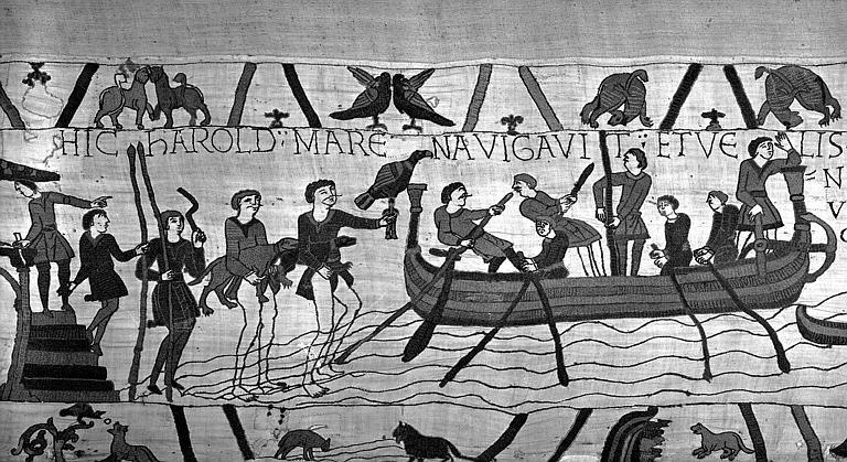 Tapisserie de Bayeux (avers),  5B : Harold et son escorte s'embarquant pour la Normandie