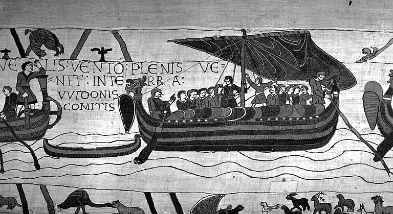 Tapisserie de Bayeux (avers),  6B : Harold et son escorte naviguant