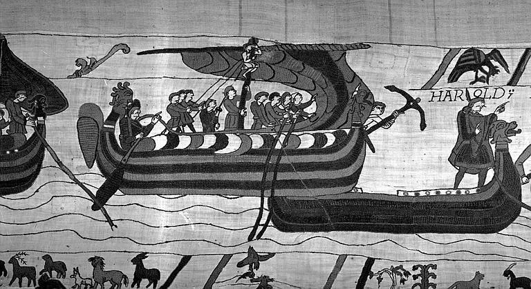 Tapisserie de Bayeux (avers),  7B : Harold et son escorte arrivant sur les terres du comte Guy de Ponthieu