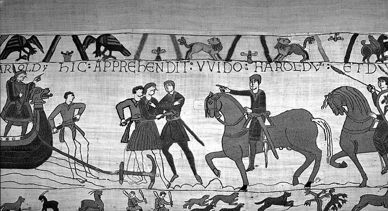 Tapisserie de Bayeux (avers),  8B : Harold fait prisonnier par Guy de Ponthieu