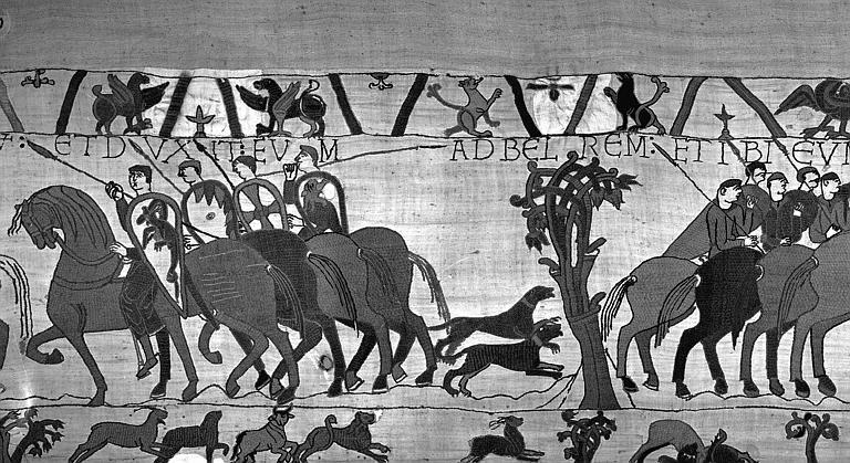 Tapisserie de Bayeux (avers),  9B : Guy de Ponthieu et sa suite à cheval