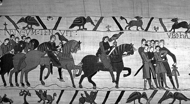 Tapisserie de Bayeux (avers),  10B : Guy et sa suite conduisant Harold à Beauvrin (?)