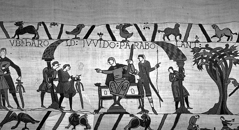 Tapisserie de Bayeux (avers),  11B : Pourparler entre Guy et Harold, Guy assis tenant une épée