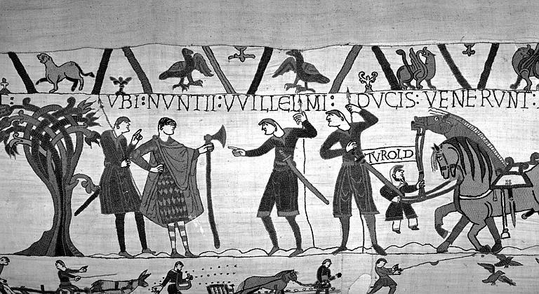 Tapisserie de Bayeux (avers),  12B : Guillaume envoie un messager à Guy pour qu'il relâche Harold