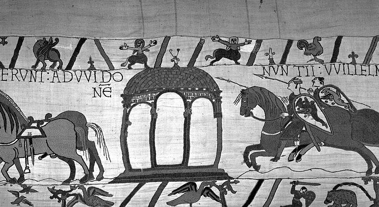 Tapisserie de Bayeux (avers),  13B : Cavaliers armés au galop