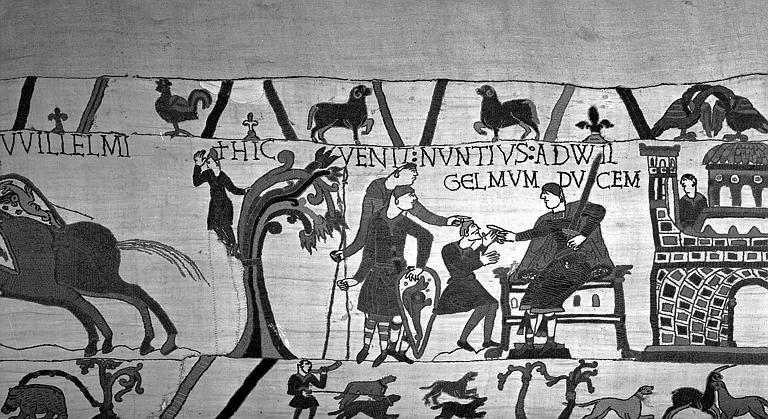 Tapisserie de Bayeux (avers),  14B : Guillaume assis tenant une épée et recevant le messager