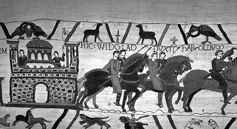 Tapisserie de Bayeux (avers),  15B : Harold remis à Guillaume