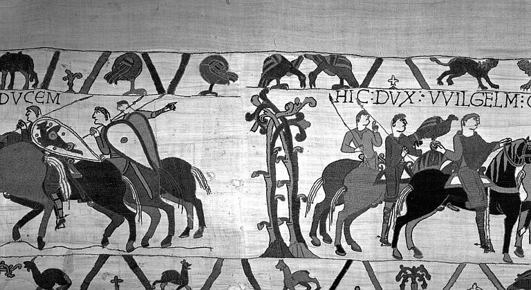 Tapisserie de Bayeux (avers),  17B : Cavaliers de la suite de Guillaume