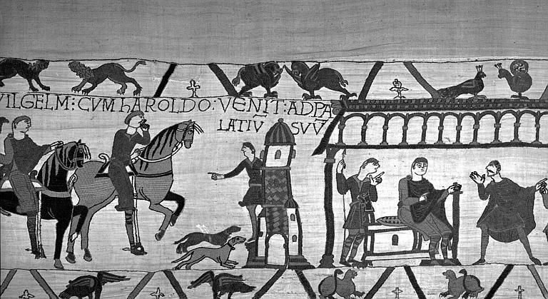 Tapisserie de Bayeux (avers),  18B : Harold arrivant au château de Guillaume