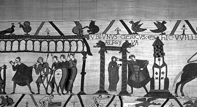 Tapisserie de Bayeux (avers),  19B : Audience accordée par Guillaume à Harold, et Edwige, fille de Guillaume présentée à Harold