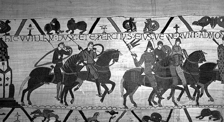 Tapisserie de Bayeux (avers),  20B : Guillaume et Harold partant pour le Mont-Saint-Michel, Conan duc de Bretagne ayant déclaré la guerre à Guillaume