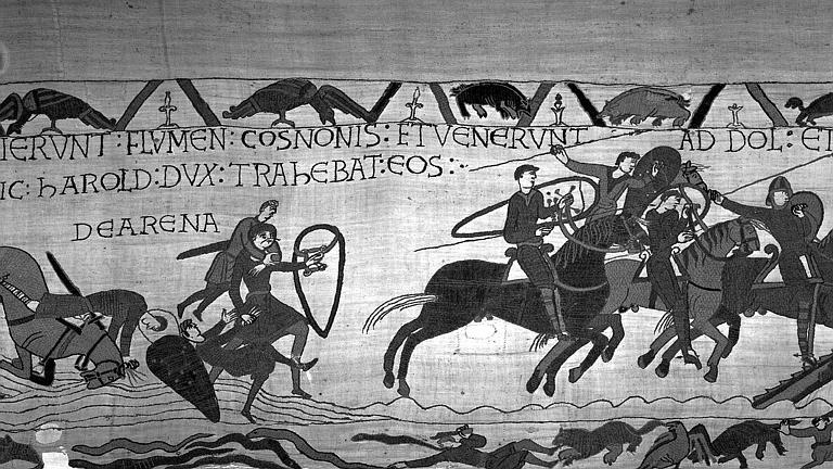 Tapisserie de Bayeux (avers),  22B : Harold sauve des Normands enlisés, et cavaliers normands s'avançant vers Dol