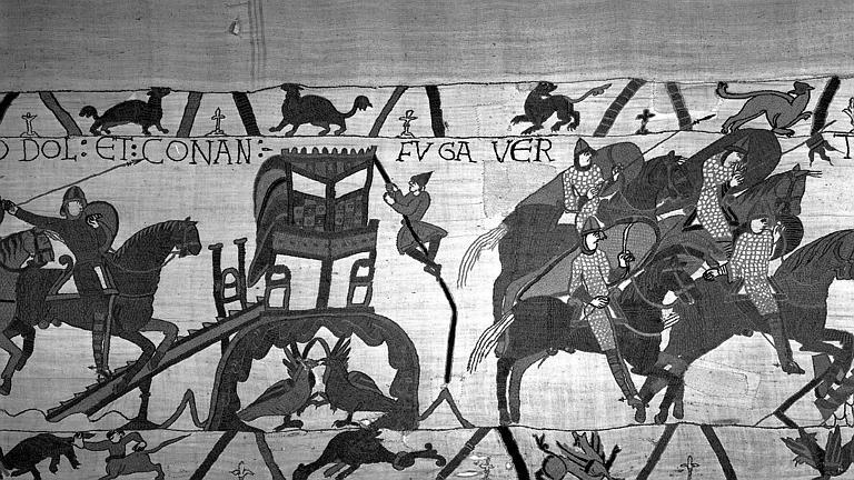 Tapisserie de Bayeux (avers),  23B : Cavaliers normands arrivant à Dol, fuite des Bretons à cheval