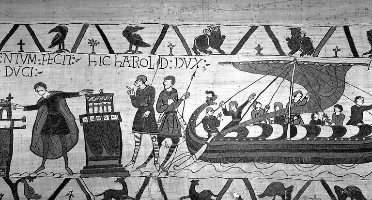 Tapisserie de Bayeux (avers),  29B : Harold prêtant serment à Guillaume, puis se préparant à rentrer en Angleterre par bateau