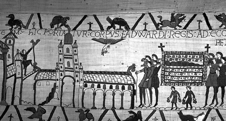 Tapisserie de Bayeux (avers),  32B : Mort du roi Edouard, hommes portant le catafalque royal à Saint-Pierre de Westminster