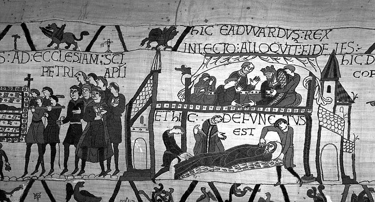 Tapisserie de Bayeux (avers),  33B : Mort du roi Edouard