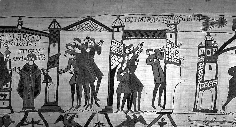 Tapisserie de Bayeux (avers),  35B : Mages apercevant une étoile et en concluant qu'il arrivera malheur à Harold le parjure