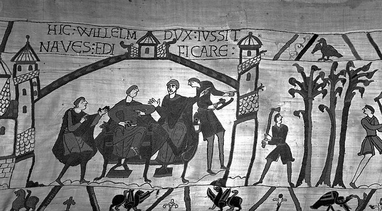 Tapisserie de Bayeux (avers),  38B : Guillaume ordonne de construire une flotte pour envahir l'Angleterre