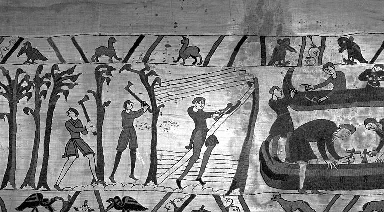 Tapisserie de Bayeux (avers),  39B : Construction du bateau, abattage du bois