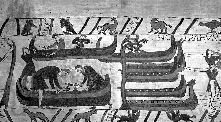 Tapisserie de Bayeux (avers),  40B : Construction du bateau, halage des bateaux