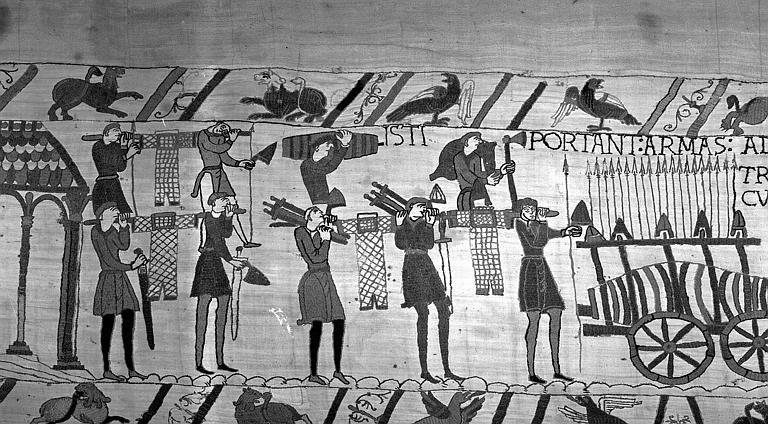 Tapisserie de Bayeux (avers),  42B : Chargement des bateaux
