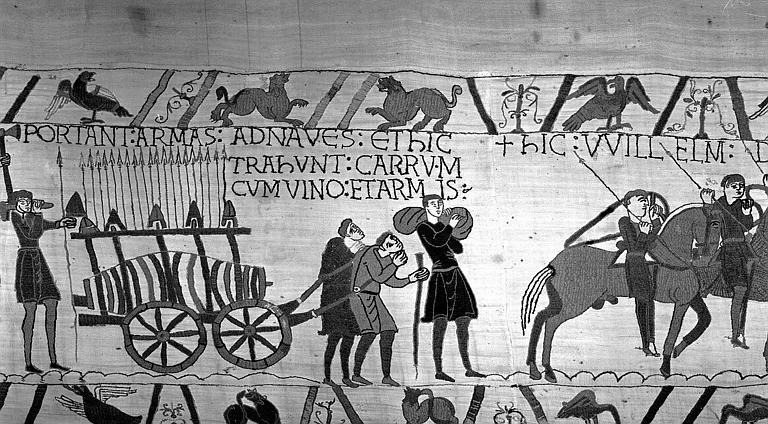 Tapisserie de Bayeux (avers),  43B : Char rempli d'armes et de vin tiré par des hommes