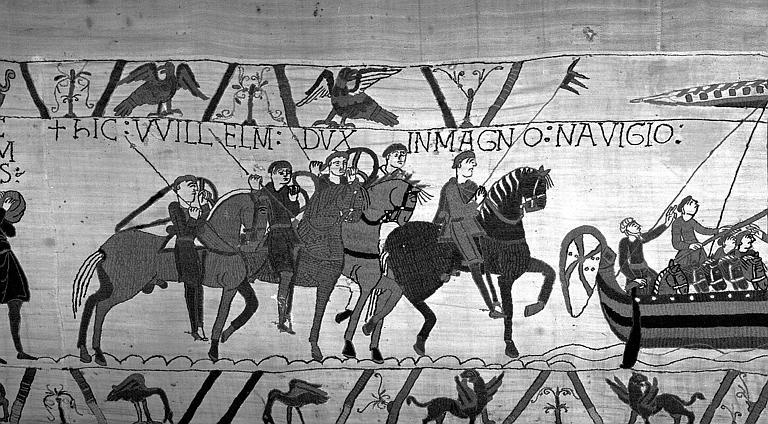 Tapisserie de Bayeux (avers),  44B : Cavaliers normands se dirigeant vers les bateaux