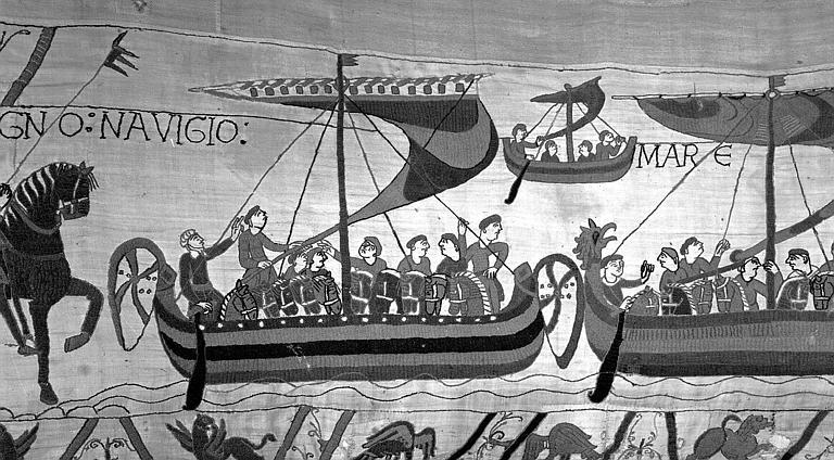 Tapisserie de Bayeux (avers),  45B : Bateaux chargés de cavaliers prenant la mer
