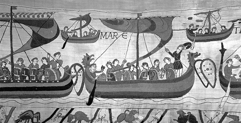Tapisserie de Bayeux (avers),  46B : Bateaux chargés de cavaliers