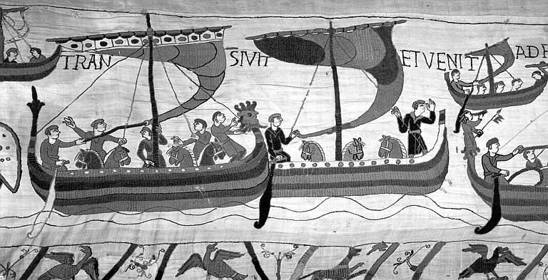 Tapisserie de Bayeux (avers),  47B : Bateaux chargés de cavaliers