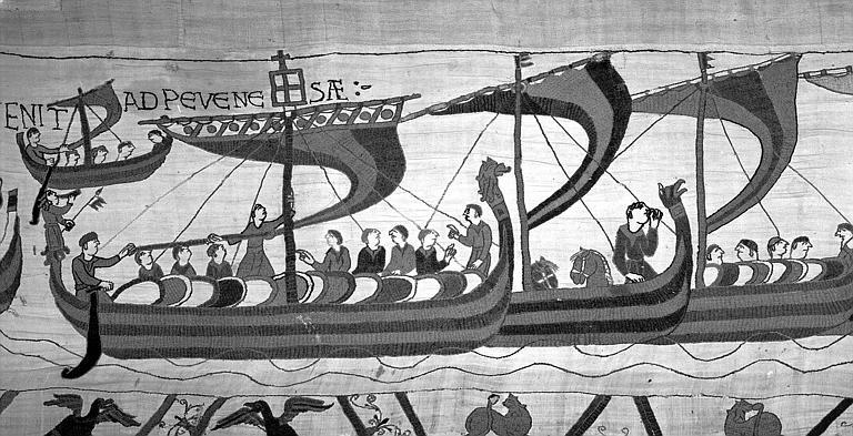 Tapisserie de Bayeux (avers),  48B : Bateaux chargés de cavaliers et d'hommes de troupe