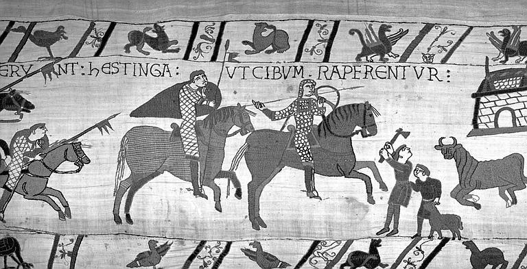 Tapisserie de Bayeux (avers),  51B : Normands en armes et à cheval se dirigeant vers Hastings
