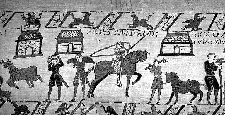 Tapisserie de Bayeux (avers),  52B : Wadar cavalier de la suite de Guillaume surveille les cuisiniers de l'armée