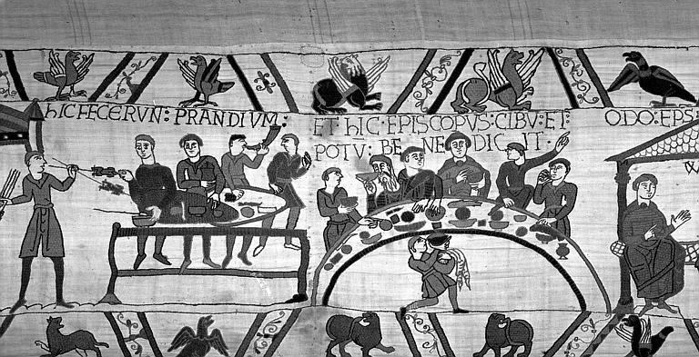 Tapisserie de Bayeux (avers),  54B : Repas, service de table pour Guillaume et ses compagnons