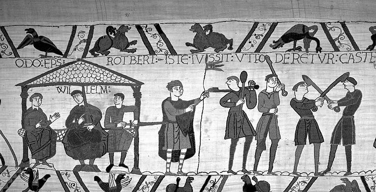 Tapisserie de Bayeux (avers),  55B : Guillaume assis tenant conseil à Hastings